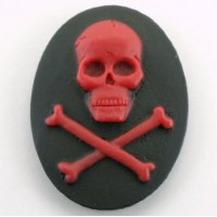 40x30mm Red scull on Black (x1)