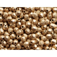 3mm UP Apaļa Matte Metallic Flax Gold 100gab.