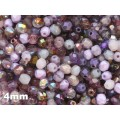 4mm UP Apaļa Amethyst Purple MIX 100gab.