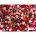 4mm UP Apaļa Red Pink MIX 100gab.
