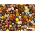 4mm UP Apaļa Yellow Orange Brown MIX 100gab.