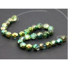 6mm UP Apaļa Crystal Metallic Green Gold 30gab.