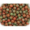 6mm Apaļa Melon Beads Mix Red Green 30gab.