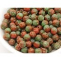6mm Apaļa Melon Beads Mix Red Green 30gab.