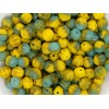 6mm Apaļa Melon Beads Mix Yellow Green 30gab.