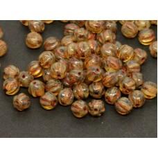 6mm Apaļa Melon Beads Crystal Picasso 30gab.