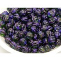 6mm Apaļa Melon Beads Green Purple 30gab.