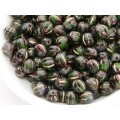 6mm Apaļa Melon Beads Green Purple Gold 30gab.