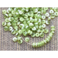 4x2mm Disks Mix Green Ivory 100gab.