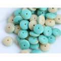 9x3mm Disks Opaque Mix Turquoise Ivory 50gab.