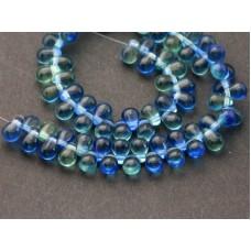 4x6mm Čehu stikla lāsītes Mix Green Blue 50gab.