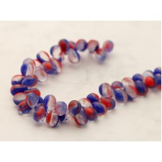 5x7mm Čehu stikla lāsītes Mix Red Blue Crystal 25gab.