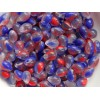 5x7mm Čehu stikla lāsītes Blue Crystal Red 25gab.