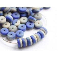 6x3mm Heishi pērlēs Matte Mix Blue Beige 50gab.