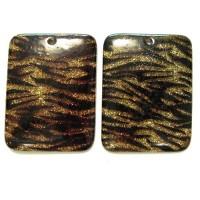 45x60mm Resin Gliter Rectangle Gold Tiger, 2gab.