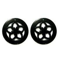 50mm Acrylic Pandant Flower Black, 2gab.