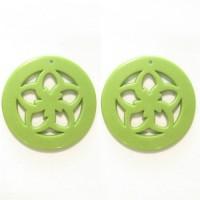 50mm Acrylic Pandant Flower Green, 2gab.