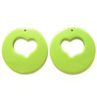 50mm Acrylic Pandant Heart Green, 2gab