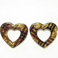 50mm Resin Gliter Heart Gold, 2pcs