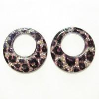 50mm Resin Gliter Donut Round Silver Leopard, 2pcs