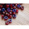 6x4mm Pony Beads Garnet Iris Blue granatābolu caurums ~2mm 30gab.