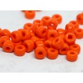 9x6mm Pony Beads Bright Orange caurums ~3mm 20gab.