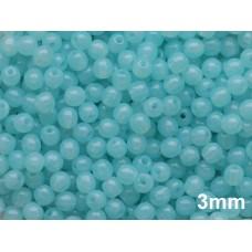 3mm Apaļa Milky Aqua Blue 100gab.