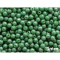 3mm Apaļa Green Speckled Silver 100gab.