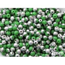 3mm Apaļa Green Silver 100gab.