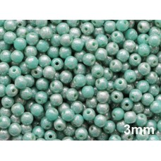 3mm Apaļa Turquoise Speckled Silver 100gab.