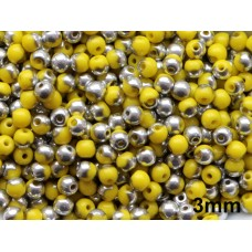 3mm Apaļa Yellow Silver 100gab.