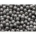 4mm Apaļa Metallic Black Speckled Silver 100gab.