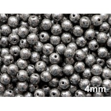 4mm Apaļa Metallic Black Speckled Silver 100gab.
