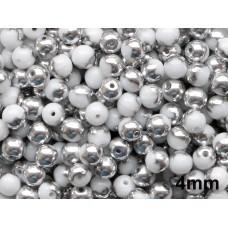 4mm Apaļa White Silver 100gab.