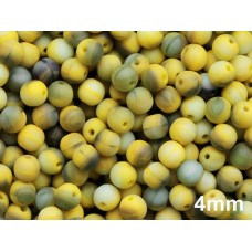 4mm Apaļa Mixed Matte Yellow Grey 100gab.