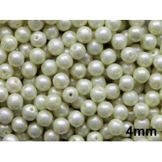4mm Apaļa White Pearl Lustered 100gab.