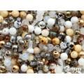 4mm Druk Round Mix White Beige 100pcs