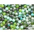 4mm Apaļa Mix Green Olivine 100gab.