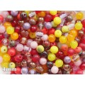 4mm Apaļa Mix Red Pink Orange Yellow 100gab.