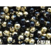 6mm Apaļa Metallic Black Gold 50gab.