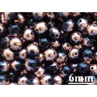 6mm Apaļa Metallic Black Copper 50gab.