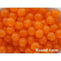 6mm Apaļa Milky Orange 50gab.