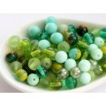 6mm Apaļa Mix Green Olivine 50gab.
