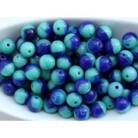 6mm Apaļa Mix Turquoise Blue 50gab.