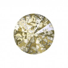 SWAROVSKI 1122 12mm Rivoli Fancy Stone Crystal Gold Ptina F 2gab.
