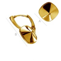 925 Silver Gold plated Leverback Earrings for Swarovski 4470 Square 2gab.