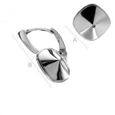 925 Silver Leverback Earrings for Swarovski 4470 Square 2gab.