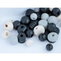 Koka pērles Liels Mix Melna Balta 50g