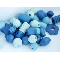 Koka pērles Liels Mix Zila 50g